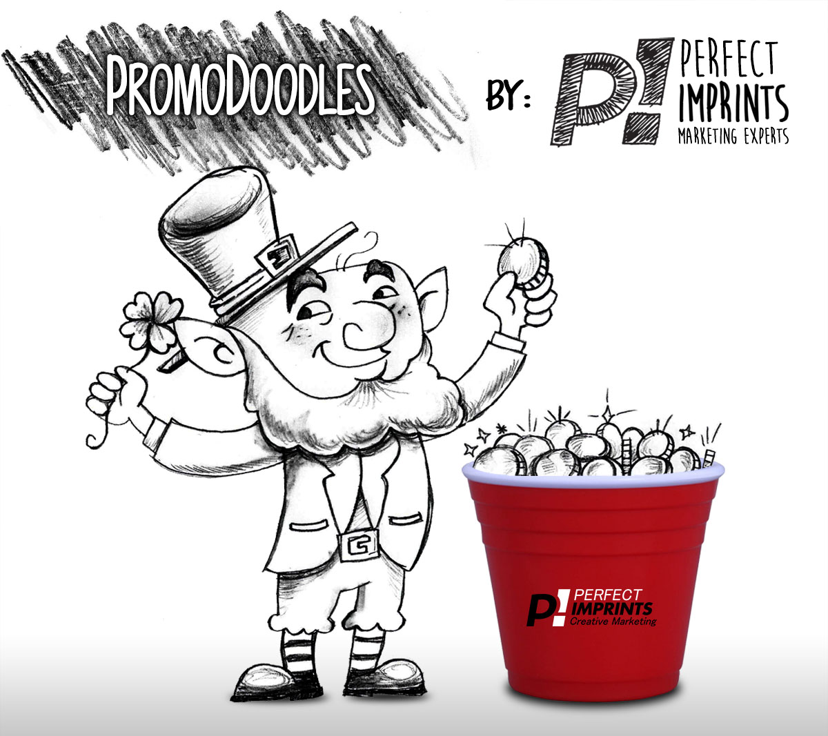 PromoDoodles by Perfect Imprints - St. Patrick's Day Leprechaun with Custom Shot Glass