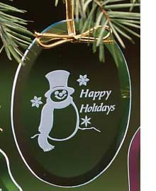 Engraved Crystal Christmas Ornaments