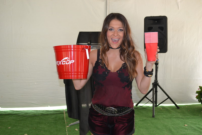 Courtney Cole is ready to play some beer pong and fill our the custom beer bucket with ice cold beer!
