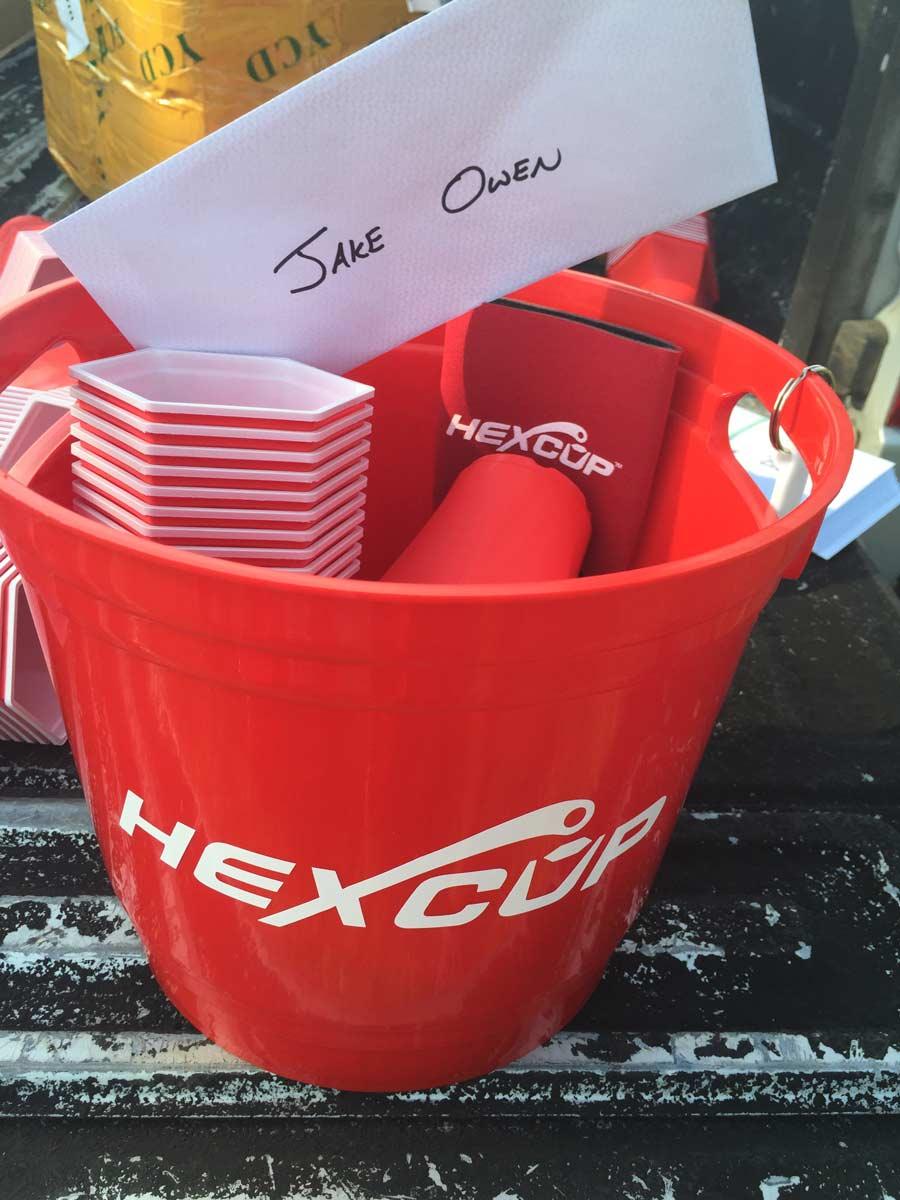 Hexcup Beer buckets with beer pong set for Jake Owen