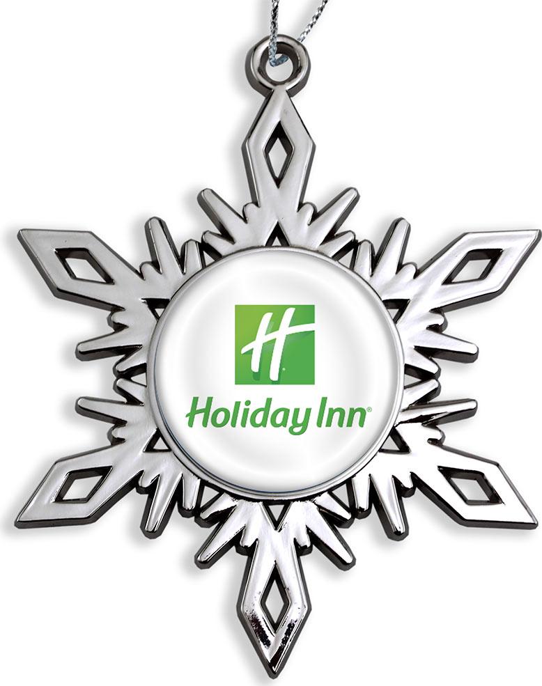 Custom Snowflake Christmas Ornaments with Full Color Logo