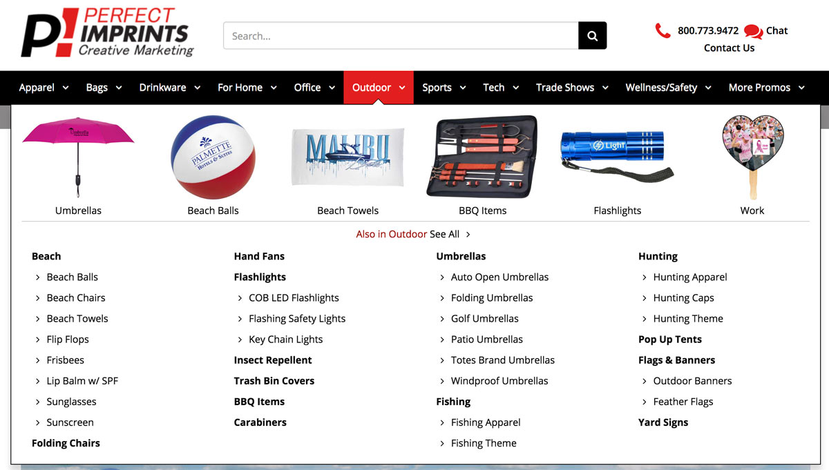 Easier to Navigate Menu to find promotional products faster