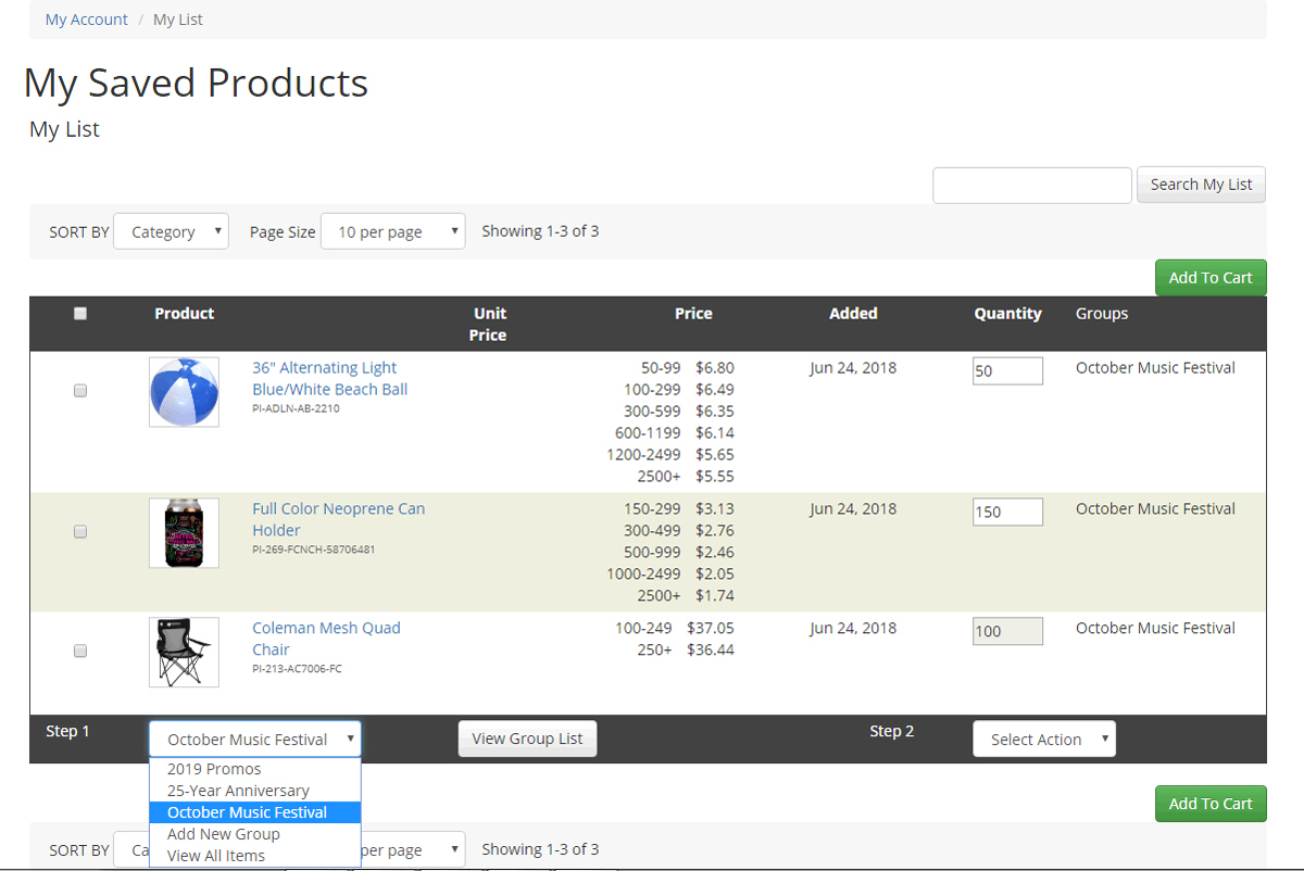 Saved Product Lists